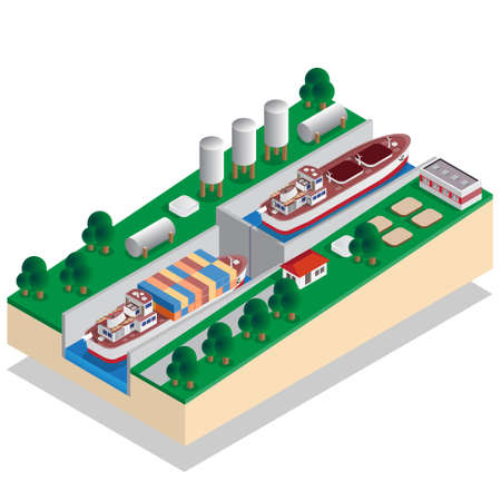 The gateway, a device for raising and lowering boats. Isometric vector illustration.  イラスト・ベクター素材