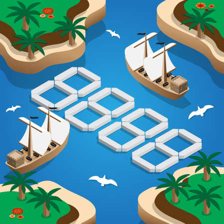 Template price tag. Ships in the bay isometric vector illustration.