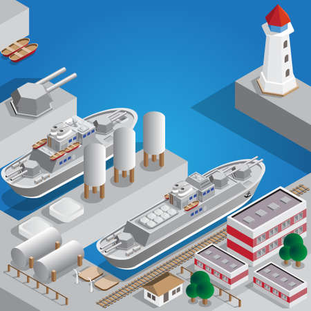 Military seaport isometric vector illustration. Illusztráció