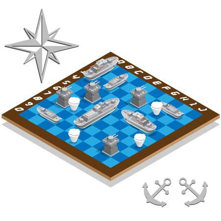 Schlachtschiffspielset isometrische Vektorillustration.