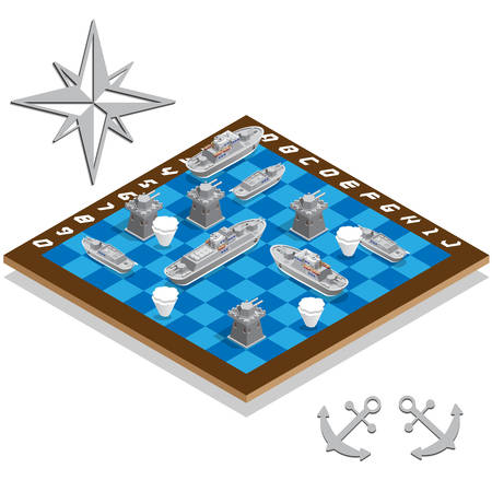 Battleship game set isometric vector illustration. Illustration