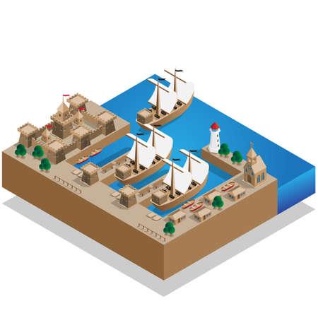 Pirate Harbor. Isometric vector illustration design. Stockfoto - 100759195