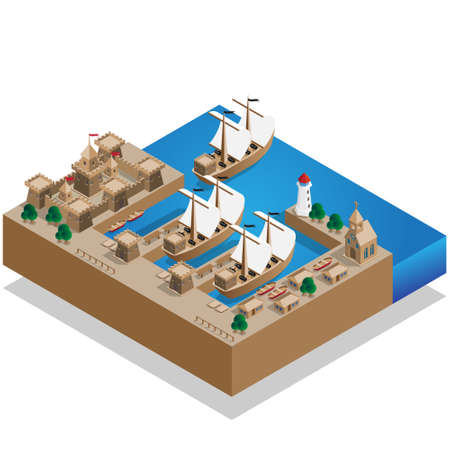 Pirate Harbor. Isometric vector illustration design.