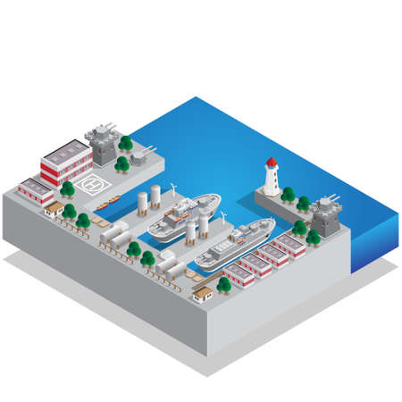Military seaport. Isometric. Vector illustration. Illusztráció