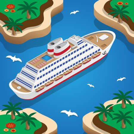 Cruise liner in the lagoon. Isometric. Vector illustration.