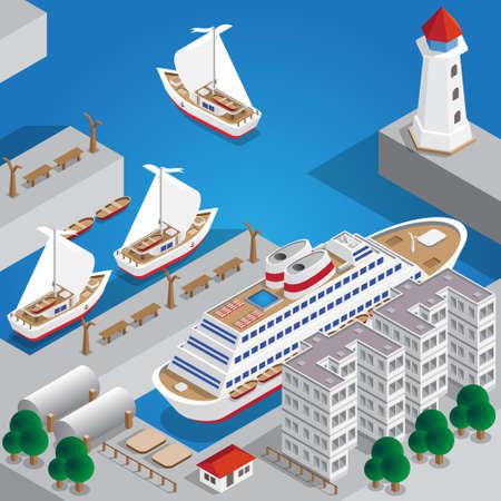 Sea port. Isometric. Vector illustration. Illustration
