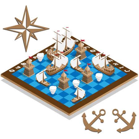 Battleship. Sailboats. Game set. Isometric. Vector illustration.