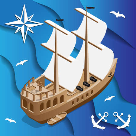 Pirate Galleon on the waves. Isometric. Vector illustration.