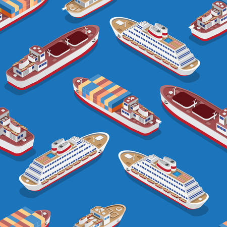 Seamless pattern. Isometric ships. Vector illustration. Illustration