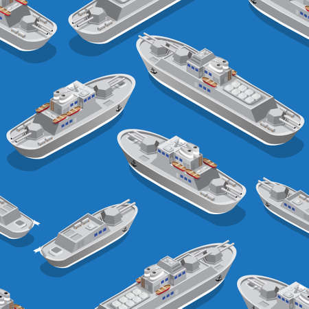 Seamless pattern. Isometric warships. Vector illustration. Illustration
