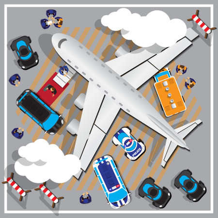 Businessman coming out of a private jet at terminal. View from above. Vector illustration. Stock Illustratie