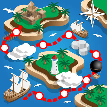 Pirate Map. Isometric. Vector illustration.