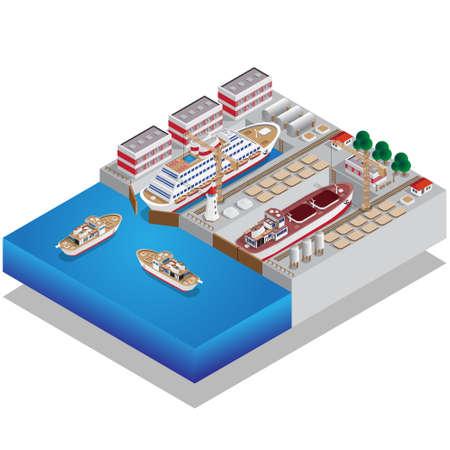 Reparación de barcos. Muelle. Isométrica. Ilustración vectorial.