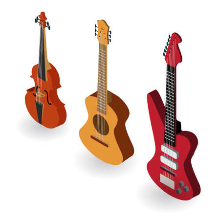 Stringed Musical Instruments. Isometric. Vector illustration.