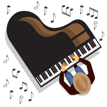 The musician playing the piano. Top view. Vector illustration.