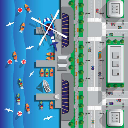 Racing on boats. View from above. Vector illustration.