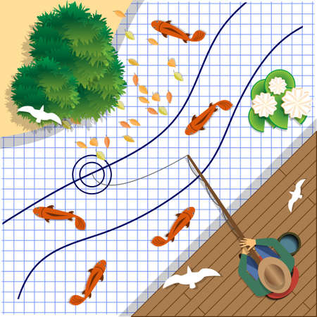 Fishing on a sheet in a cage. View from above. Vector illustration.