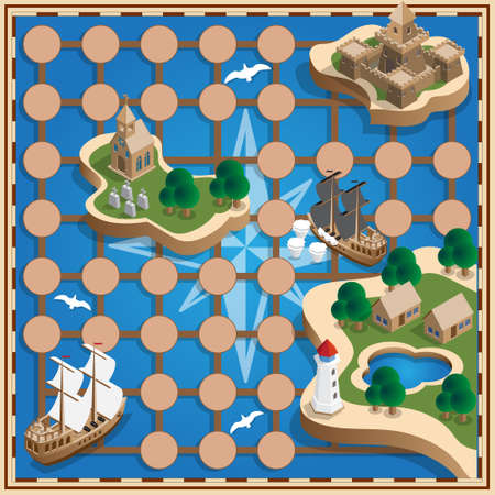 Sea map. Vector design for app game user interface. Isometric. Ilustracja