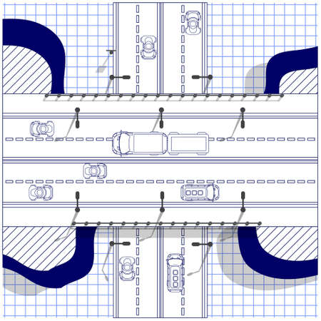 Road bridge on a sheet in a cage. Road junction. View from above. Vector illustration.