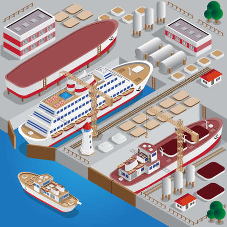 Repair of ships. Dock. Isometric. Vector illustration.