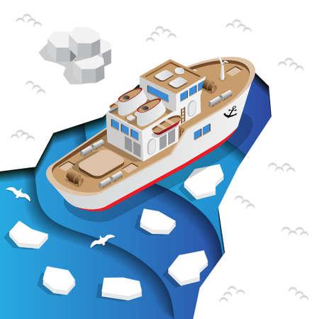 Ship in the sea ice. Isometric. Vector illustration. Иллюстрация