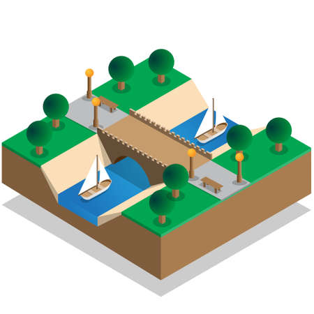 The river in the park. Isometric. Vector illustration. Иллюстрация