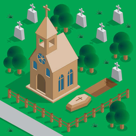 Church in the cemetery. Dig the grave. Isometric. Vector illustration.