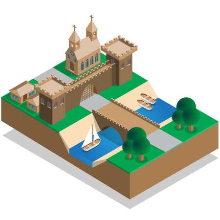 Le vieux mur de la ville et un fossé. Isométrique. Illustration vectorielle.