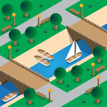 The river in the park. Isometric. Vector illustration. Illusztráció