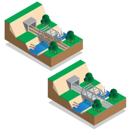 Rail and road bridges. Tunnels. Isometric. Vector illustration. 向量圖像