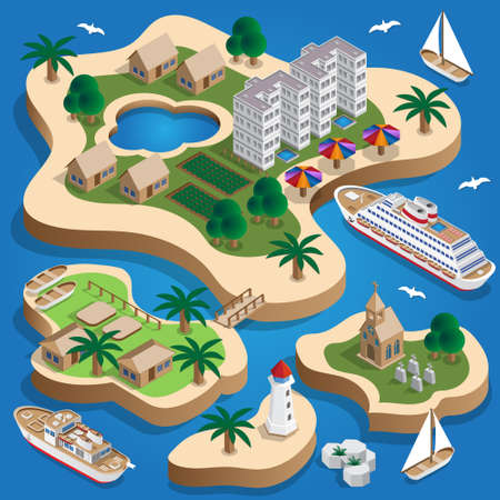 The resort is on the islands. Isometric. Vector illustration.