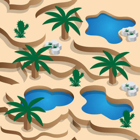 Oasis in the desert dunes. Isometric. Vector illustration.