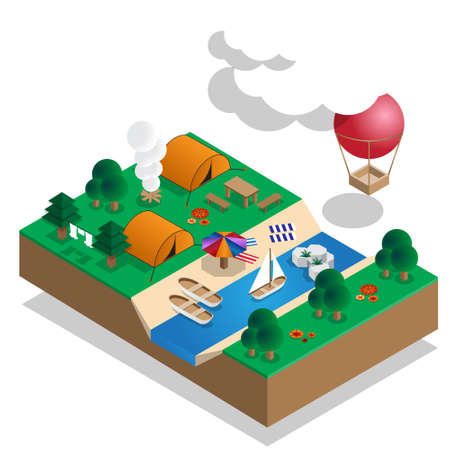 Camp on the river. Isometric. Vector illustration.