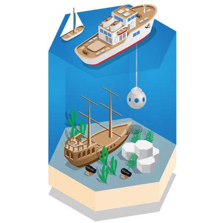 A study of the sunken galleon. Isometric. Vector illustration.