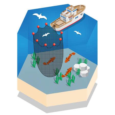 The boat for fishing. Isometric. Vector illustration. Ilustração