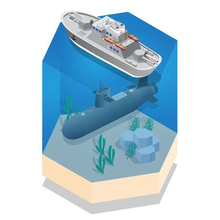 Warship and Submarine. Isometric. Vector illustration.