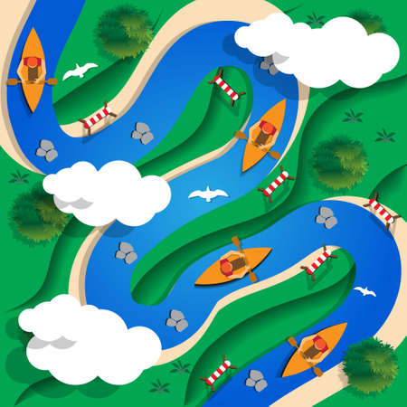 Slalom Kayak. View from above. Vector illustration.
