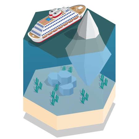Ship near the iceberg. Isometric. Vector illustration.
