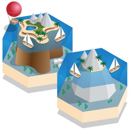 Tropical islands. Isometric. Vector illustration.
