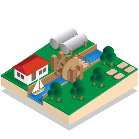 Water mill. Isometric. Vector illustration.