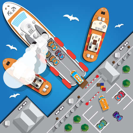 Ferry. View from above. Vector illustration. Ilustração