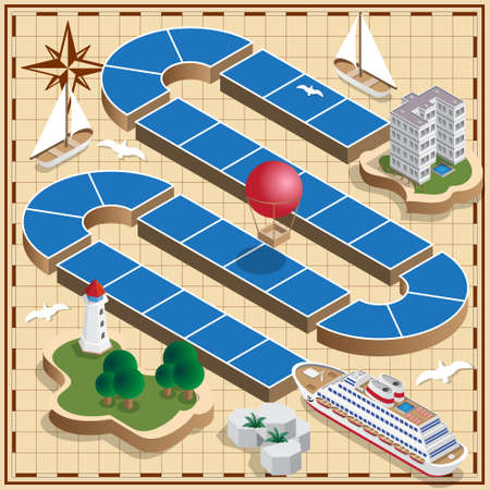 Traveling on a cruise ship. Isometric. Vector illustration.