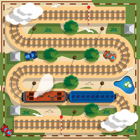 Travel by rail. View from above. Vector illustration. Standard-Bild - 103321712