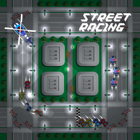 Street racing. View from above. Vector illustration. Illustration