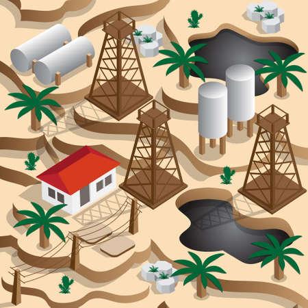 Oil production in the desert. Isometric. Vector illustration.