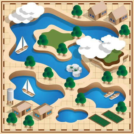 Map of the natural landscape. Lake. Isometric. Vector illustration.