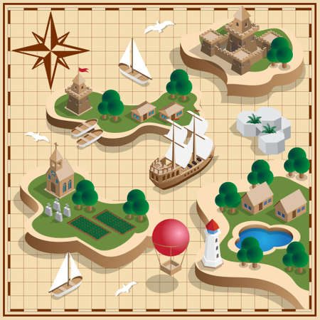 The medieval landscape of the islands. Antique map. Isometric. Vector illustration. Illusztráció
