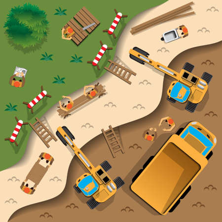 Work at the quarry. View from above. Vector illustration. Stock Vector - 103786484