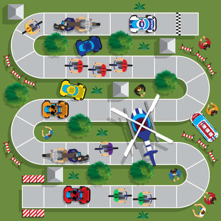 Cyclists group at professional race. Child Game. View from above. Vector illustration. 일러스트