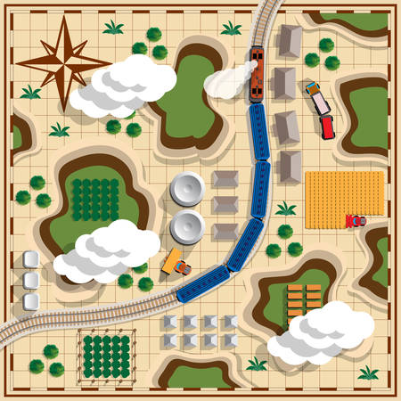 Railroad with train. Landscape. View from above. Vector illustration.